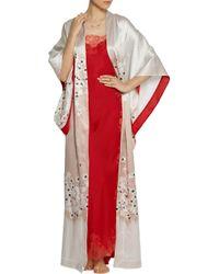 Carine Gilson Red Akai Lace-Trimmed Silk-Satin Chemise