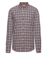 BOSS Orange | Red 'edipoe' | Slim Fit, Cotton Plaid Button Down Shirt for Men | Lyst