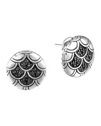 John Hardy | Metallic Naga Silver Lava Button Earrings With Black Sapphire | Lyst