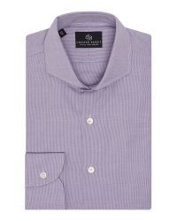 Chester Barrie - Purple Check Tailored Fit Long Sleeve Shirt for Men - Lyst