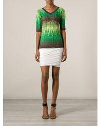 M Missoni Green Zig Zag Crochet Sweater