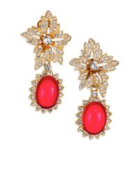 Kenneth Jay Lane | Red Shimmering Flower Clip Earrings | Lyst