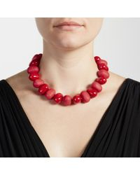 John Lewis | Red Oval Bead Necklace | Lyst