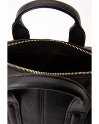 Forever 21 - Black Zippered Faux Leather Mini Satchel - Lyst