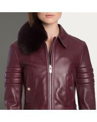 Bally Blue Lamb Nappa Blouson Women ́s Cherry Leather Biker Jacket With Fur Collar