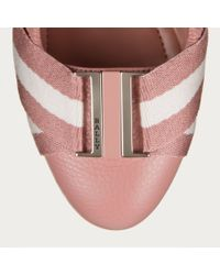 Bally Pink Tippy Women ́s Grained Leather Ballerina Pump In Rosehaze