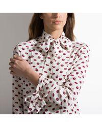 Bally Multicolor Lip Print Pussy Bow Shirt Women ́s Silk Printed Shirt In Bone