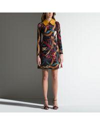 Bally Multicolor Belt Print Dress Women ́s Multicoloured Silk & Wool Dress