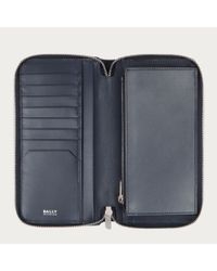 Bally Nicolo Men ́s Leather Zip Wallet In New Blue for men
