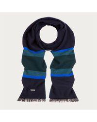 Bally - Blue Block Stripe Jacquard Scarf Men ́s Wool Scarf In Multi Teal - Lyst