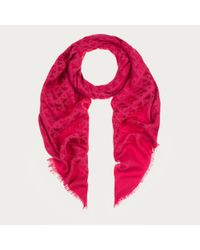 Bally - Fringed Jacquard Scarf Women ́s Wool & Silk Scarf In Dusty Pink - Lyst