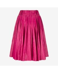 Bally - Pink Pleated Leather Skirt - Lyst