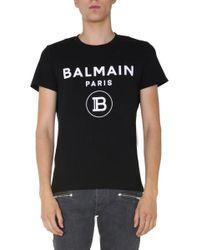 Balmain Black Crew Neck T-shirt for men