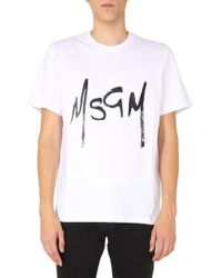 MSGM White Crew Neck T-shirt for men