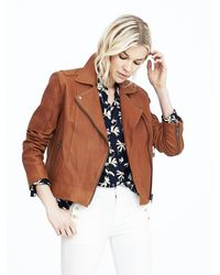 Banana Republic | Brown Washed Leather Moto Jacket | Lyst