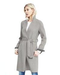 Banana Republic   Gray Double-face Belted Wrap Coat   Lyst