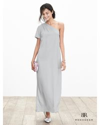 Banana Republic   Metallic Br Monogram Silk One-shoulder Dress   Lyst