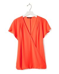 Banana Republic - Multicolor Pleated Shoulder Wrap-front Top - Lyst