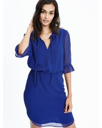 Banana Republic - Blue Tie Neck Shirtdress - Lyst