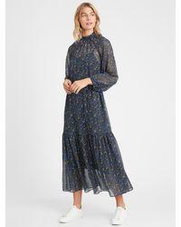 Banana Republic Blue Petite Velvet Dot Maxi Dress