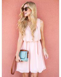 Banana Republic - Pink Sleeveless Tie-neck Vee Dress - Lyst