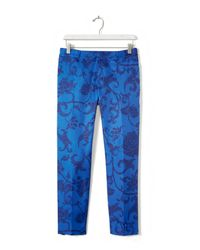 Banana Republic - Blue Tailored Floral Crop Pant - Lyst