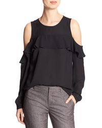 7ee61fe662bdd Lyst - Banana Republic Factory Ruffle Cold-shoulder Blouse in Black