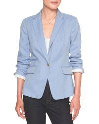 Banana Republic Factory - Machine Washable Blue Mini Herringbone Cutaway Suit Blazer - Lyst