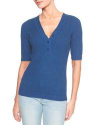 Banana Republic Factory - Blue Elbow Sleeve Henley Sweater - Lyst
