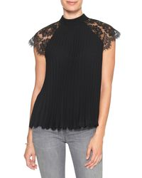 99878d81ccded Banana Republic Factory. Women s Black Lace Scallop Sleeve Micro-pleated Top