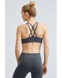 Beyond Yoga - Gray Plush Tri-panel Bra - Lyst