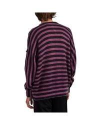 8 MONCLER PALM ANGELS Purple Striped Logo Mohair-blend Sweater for men