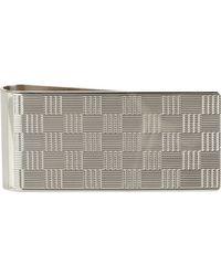 Barneys New York Multicolor Silver Textured Check Money Clip