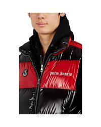 8 MONCLER PALM ANGELS Black Colorblocked Lacquered Down-quilted Vest for men
