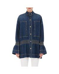 Stella McCartney | Blue Smocked Denim Jacket | Lyst