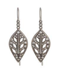 Cathy Waterman White Leaf Drop Earrings