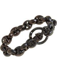 Hoorsenbuhs - Black Smoked Silver Large Open Link Bracelet - Lyst