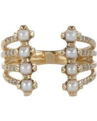 Jennie Kwon | Metallic Pavé Diamond, Pearl & Gold Cuff Ring | Lyst