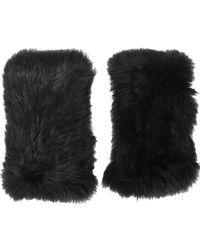 Barneys New York | Black Rabbit Fur Fingerless Gloves | Lyst