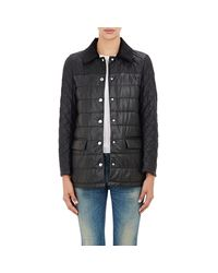 Barneys New York Black Leather Quilted Jacket