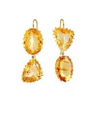 Renee Lewis - Yellow Mismatched Citrine Double-drop Earrings - Lyst