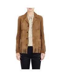 Saint Laurent Brown Women's Fringed Suede Curtis Jacket