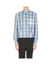 Givenchy - Blue Men's Rt Plaid Flannel Shirt for Men - Lyst
