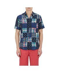 Faherty Brand - Blue Men's Patchwork Short-sleeve Shirt for Men - Lyst