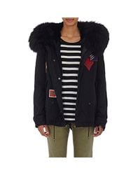 Mr & Mrs Italy | Black Fur-lined Canvas Parka Jacket  | Lyst