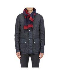 Ermenegildo Zegna Red Silk-cashmere Stripe Scarf for men