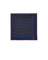 Gucci | Blue Geometric Medallion Silk Pocket Square for Men | Lyst