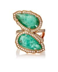 Sara Weinstock - Green Double Bypass Ring - Lyst