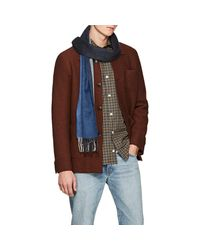 Drake's - Brown Colorblocked Wool-angora Scarf for Men - Lyst