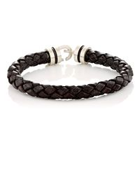 Zadeh - Black Sterling Silver & Braided Leather Bracelet for Men - Lyst